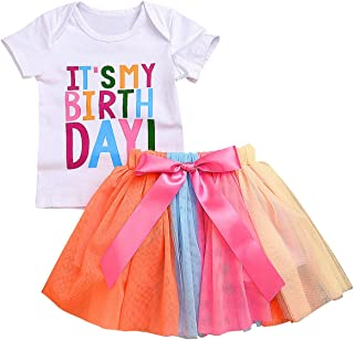 Baby Little Girls Letters T-Shirt + Colorful Rainbow Skirts Birthday Gift Outfits Set