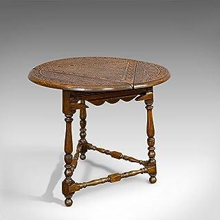 Table de cricket antique en chêne, anglais, feuille tombante, lampe, occasionnel, édouardien