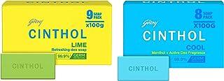 Cinthol Cool Bath Soap, 100g (Pack of 8) & Cinthol Lime Bath Soap – 99.9% Germ Protection, 100g (Pack of 9)