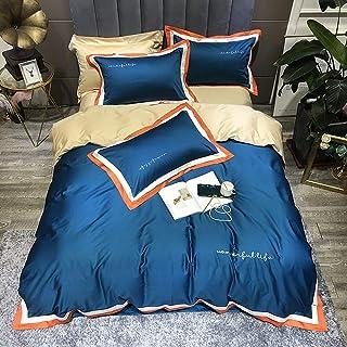 Bedding Set Double Bed Navy, Duvet Cover Set Bedding Set 4 Pieces 100% Egyptian Cotton King Size, Duvet Covers Set Include Quilt Cover 220×240CM +1 Flat Sheet 245×270 CM+2 Pillowcases