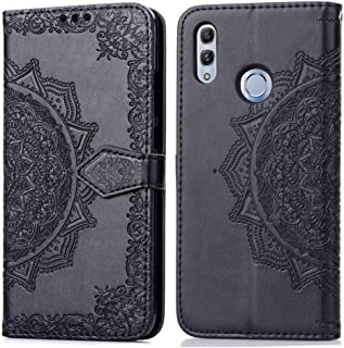 For Huawei Honor 10 Lite Halfway Mandala Embossing Pattern Horizontal Flip Leather Case with Holder & Card Slots & Wallet & Lanyard New (Black) Dualn (Color : Black)