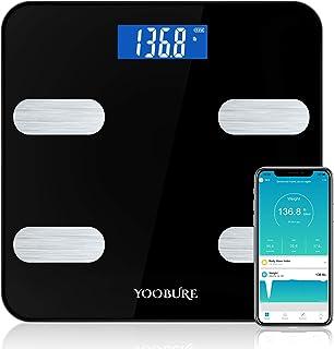 مقیاس چربی بدن بلوتوث ، مقیاس وزن هوشمند حمام مقیاس هوشمند Yoobure با iOS Android APP ، مقیاس بسیار دقیق وزن بدن BMI ، آنالیز ترکیب بدن طراحی گوشه دور