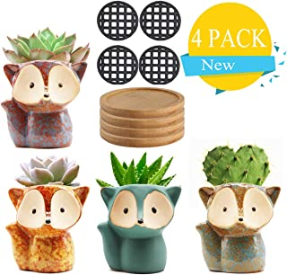 Succulent Pots Small Succulent Planters Ceramic Flower Pot Garden Planters Cute Cactus Plant Pot with Drain Hole & Bamboo Saucers Trays for Office Home Decoration Set of 4 (Plants NOT Included)
