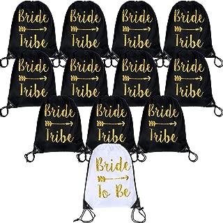 12 Pieces Bride and Bride Tribe Drawstring Bags Wedding Drawstring Gift Bag Bridal Party Favor Bags for Bridesmaids Bridal Party Bridal Shower, 16.5 x 13.4 inch (Black)