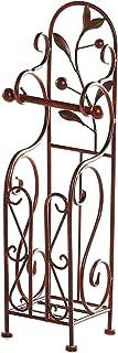 Benzara BM05343 Classic Free Standing Metal Toilet Paper Holder, Bronze