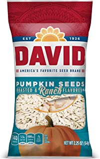 DAVID SEEDS Roasted And Salted Ranch Pumpkin Seeds, Keto Friendly, 2.25 oz, 12 Pack