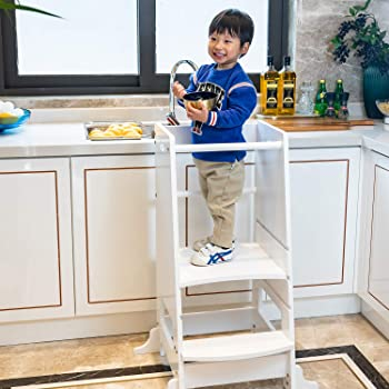 Kinbor Baby Kids Step Stool Kids Learning Stool Kids Kitchen Step Stool with Safety Rail-Solid Wood Construction Perfect for Toddlers and Older