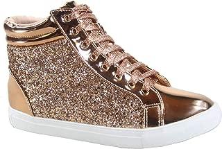FZ-Sparkle-25 Women's Fashion Glitter Flat Heel High Top Lace Up Sneaker Shoes