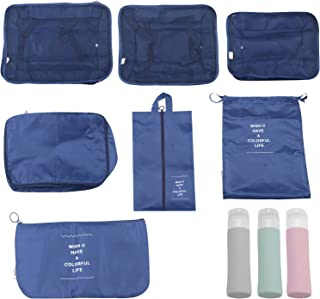 Mosodo Packing Cubes for Suitcases 7 Set, Foldable Waterproof Lightweight Packing Cubes Travel Organizer with Silicone Tra...