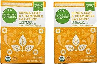Simple Truth Organic Senna Leaf & Chamomile Laxative Herbal Tea 16 Ct Tea Bags (Pack of 2)