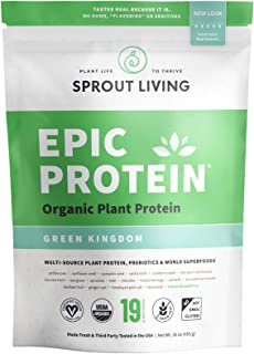 Sprout Living Epic Protein Powder, Green Kingdom Flavor, Organic Plant Protein, Gluten Free, No Additives, 20 Grams Clean Vegan Protein (1 Pound,13 Servings)