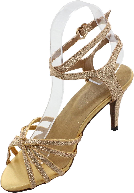 MsMushroom Woman's Glitter Performance Latin Dance shoes gold 4  Heel