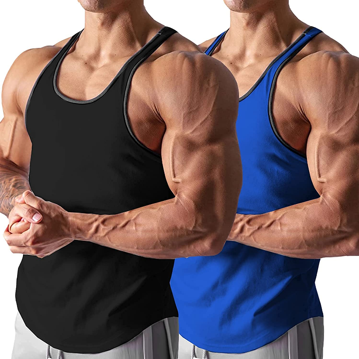 Babioboa Men's 2 Pack Gym Tank Tops Workout Stringer Muscle Tee Y-Back Bodybuilding Sleeveless T-Shirts: Clothing