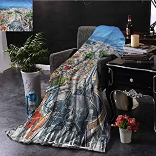 Anyangeight Living Room/Bedroom Blankets, Double-Sided Super Warm Super Soft Throw Blanket Suitable for All Season, European | Square in Rome Cityscape - 60