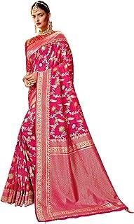 Royal party wedding indian woman pink Bridal Silk Saree with gold border & Rich Pallu Sari Blouse 6304