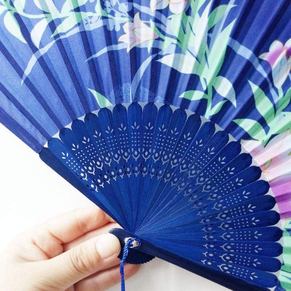 BHG Dance Folding Fan Handheld Flower Pattern Dancing Fan Style Folding Fan Antiquity Bronzing Fan,F F