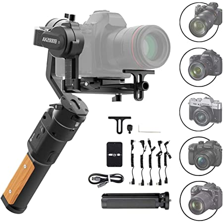 FeiyuTech AK2000C Gimbal 3 Achse Stabilisator für Spiegelreflexkamera/Sspiegellose/DSLR Kamera wie Sony a9/a7/A6300/A6400,EOS R,M50,80D,GH4,GH5,Nikon Z7,FUJIFILM XT4/XT3,4,85 lb Nutzlast,Schnellladen