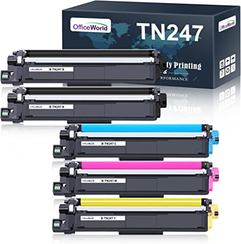 OfficeWorld Compatible Brother TN247 TN243 TN-247 TN-243 Cartouche de Toner pour Brother MFC-L3750CDW MFC-L3730CDN MF...