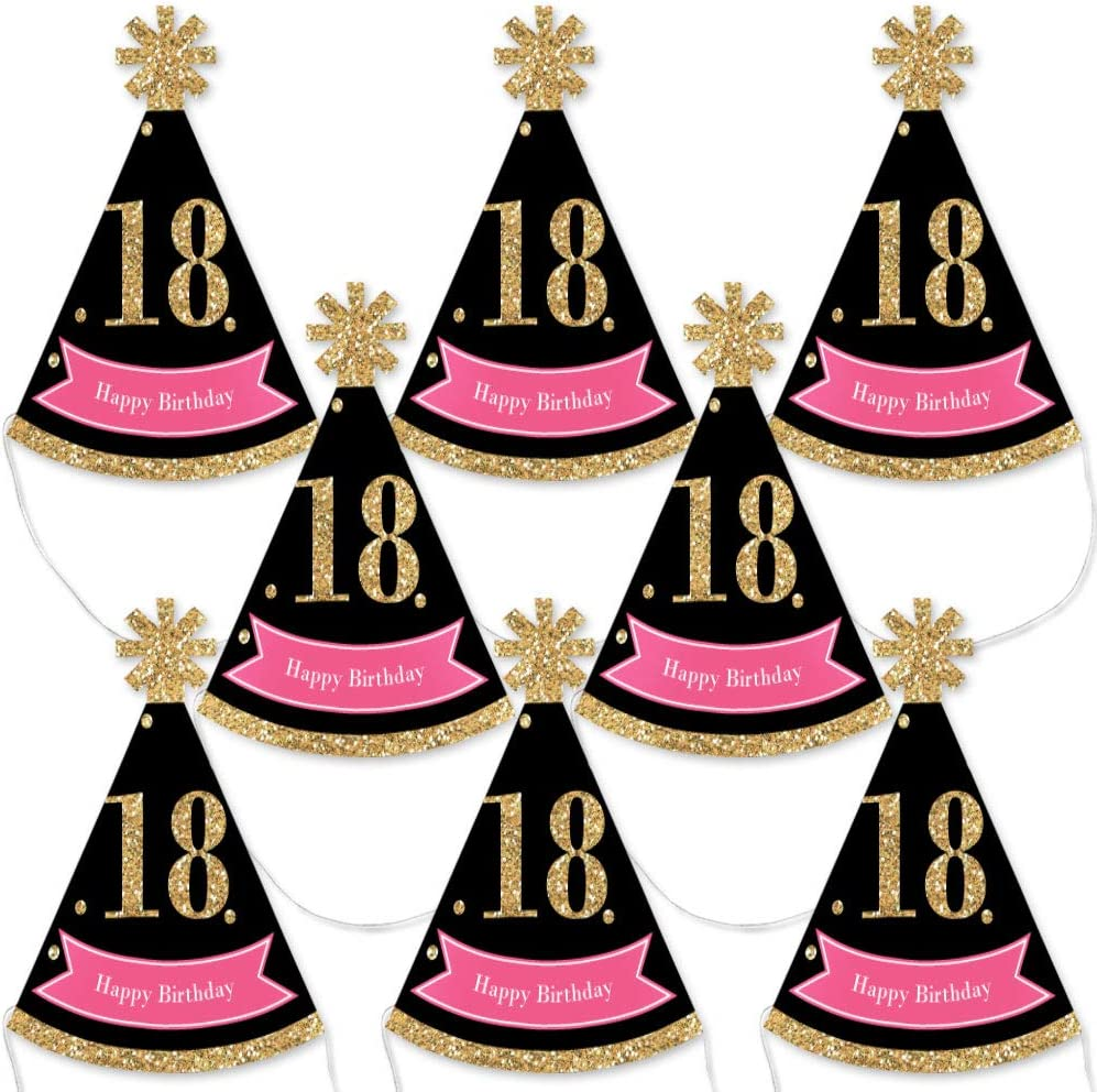 Big Dot of Happiness Chic 18th Recommended Black Pink and Gold - Surprise price Birthday