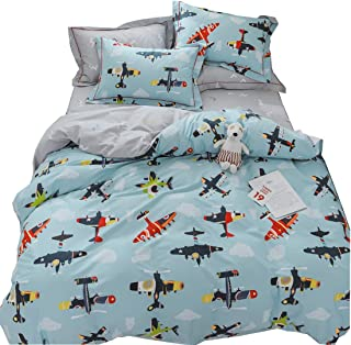 LAYENJOY 100% Cotton Kids Duvet Cover Set Queen Size Toy Airplane Flying Sky Clouds Pattern Printed Blue Comforter Cover Full for Teens Boys Girls 3 Piece Sets with Zipper Closure, No Comforter