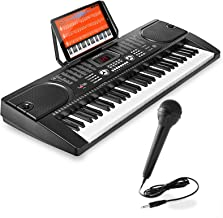 Hamzer 61-Key Digital Music Piano Keyboard - Portable Electronic Musical Instrument - with Microphone and Sticker Sheet