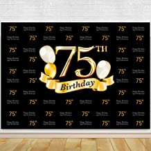 Glitter Gold and Black Photo Studio Booth Background Adult Happy 75th Birthday Party Decorations Banner Backdrops for Photography