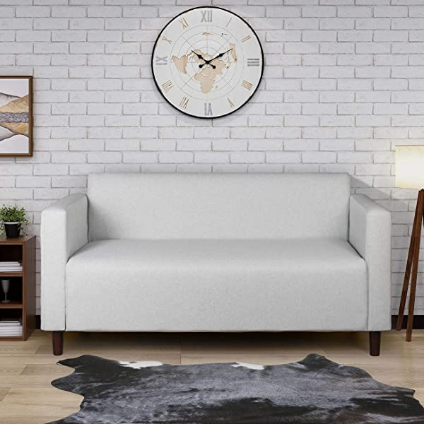 Modern Minimalist Short Back Loveseat Sofa Upholstered Couch Suitable For Living Room Bedroom Office Furniture Total Length 55 Inches Light Grey 1118