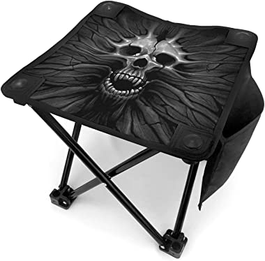 wenchongmaoyi Big Face Skull Colored Print Camping Stool Folding Lightweight with Carry Bag for Adults, Camping, Fishing,