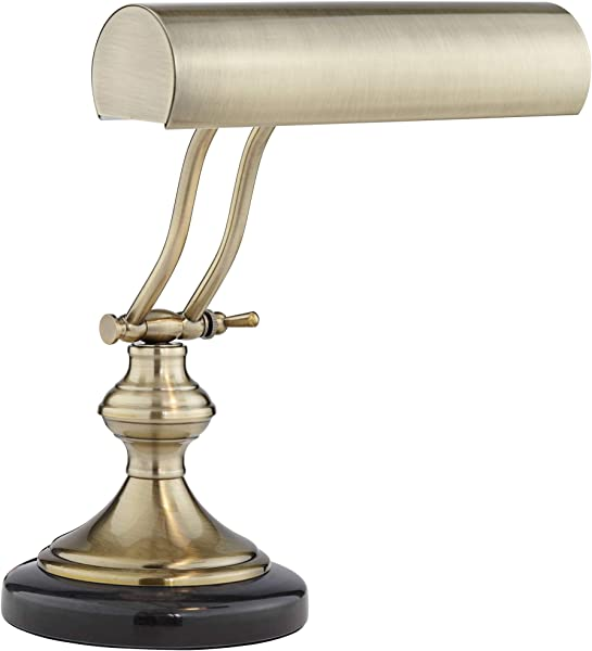 Traditional Piano Banker Desk Lamp LED Adjustable Black Marble Base Antique Brass Shade For Office Table Regency Hill