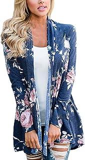 72a18ceadf4 Cardigan Tricot Femme Boheme Hippie Chic Gilet Imprimé Fleur Châle Sweat-Shirt  Tunique Irrégulier Manteau