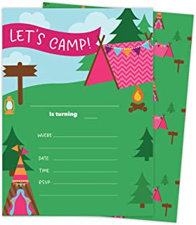 Camping Girls 3 Happy Birthday Invitations Invite Cards (25 Count) With Envelopes and Seal Stickers Vinyl Girls Kids Party (25ct)