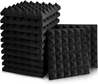 Geepro 12 Paneles Pirámide Espuma Acústica 30x30x5cm, Absorción De Sonido, Auto Extinguible, para Podcasting, Estudios de ...
