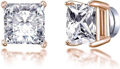Boucles d'oreilles carrées à clips magnétiques en or rose créées avec des cristaux Autrichiens