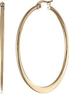 Gold or Rhodium Plated Stainless Steel Flattened Hoop...