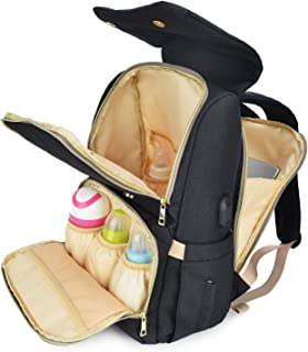 Qimiaobaby Diaper Bag Backpack Multifunction Travel Back Pack Maternity Baby Nappy Changing Bags Large Capacity, Stylish and Durable (Black)