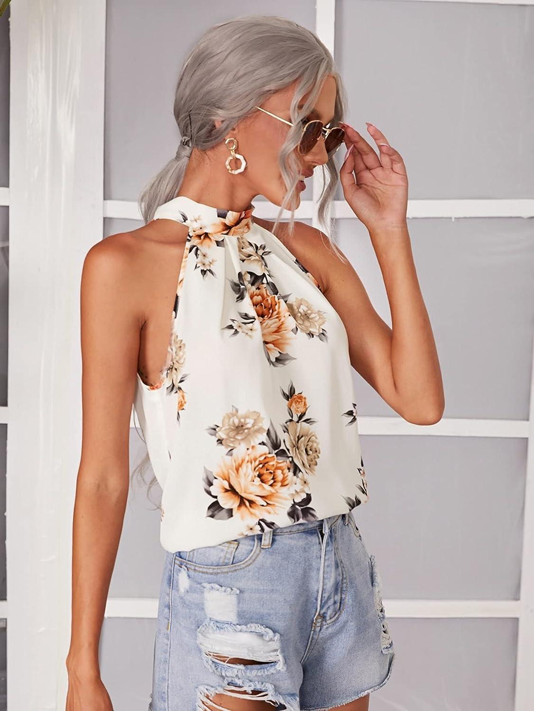 Milumia Women's Summer Boho Floral Print Halter Top Mock Neck Sleeveless Tank Blouse