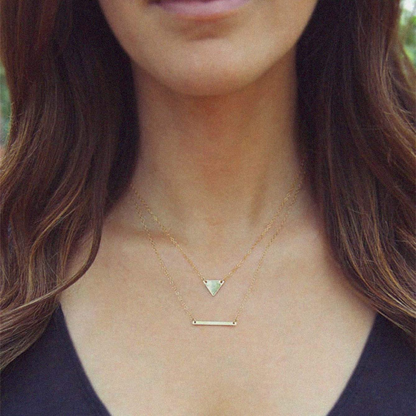 CanB Layered Bar Pendant Necklace Minimalism Choker Geometry Necklace Bar Chain Sideways Jewelry for Women and Girls (Gold)
