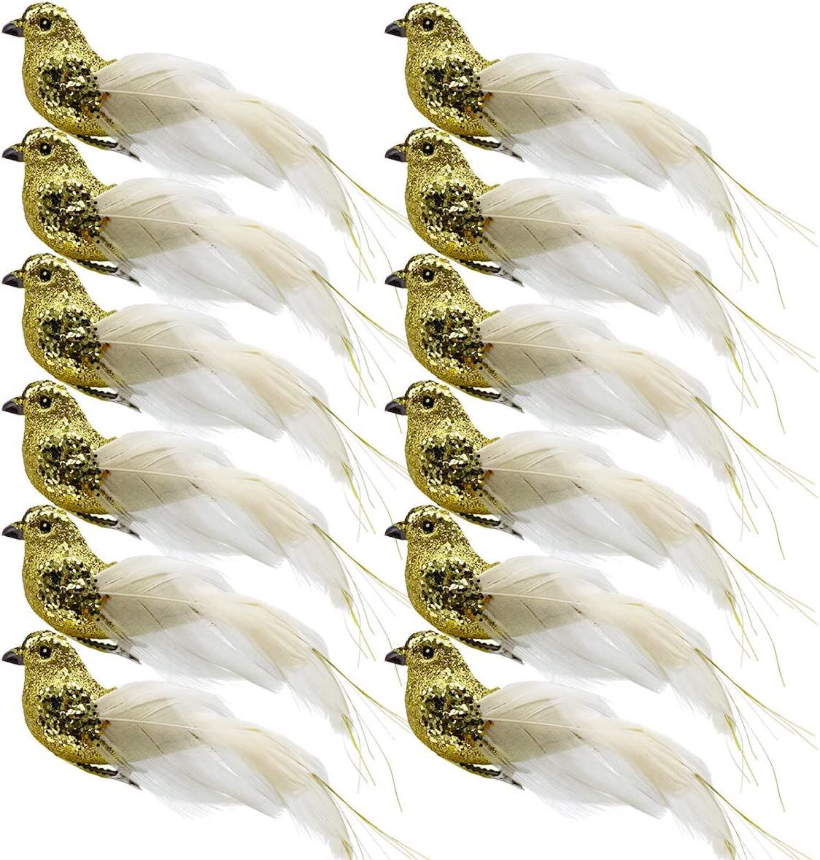 12pcs Luxury goods Gold Glitter Artificial Birds Ornament 5 popular Clip Bird on Sequin