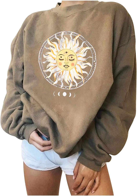 Jaqqra Oversize Sweatshirts for Women Crewneck, Women's Casual Long Sleeve Sun Print Pullover Tops Shirts Blouse Girls