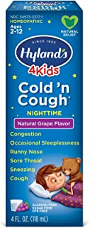 Cold Medicine for Kids Ages 2+ by Hylands, Cold and Cough 4 Kids Grape, Nighttime, for Cough, Decongestant, Allergy and Co...