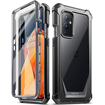 Poetic Guardian Series Case Designed for Oneplus 9 5G, Full-Body Hybrid Shockproof Bumper Cover with Built-in-Screen Protector, Black/Clear