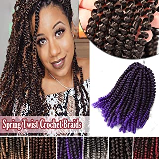 Fluffy Curly Crochet Twist Hair 8 Inch Synthetic Braiding Hair Extensions for Black Women Jamaican Bounce Spring Crochet 3 Packs Off Black/Purple
