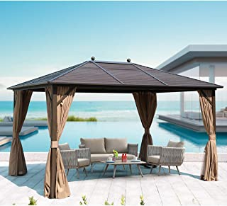 MELLCOM Hardtop Gazebo Galvanized Steel Outdoor Gazebo Canopy 10' ×13' Single Roof Pergolas Aluminum Frame with Netting an...