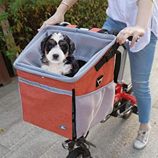 Raymace Dog Bike Basket Bag with Reflective Stripe Pet Bicycle Booster Carrier for Puppy or Small Breeds Travel with Your ...