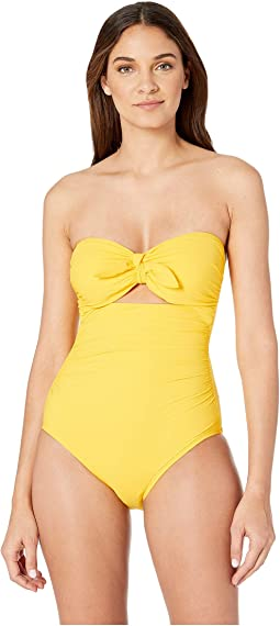Grove Beach Tie Bandeau One-Piece Swimsuit w/ Removable Soft Cups