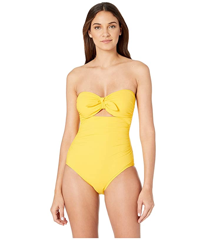 Kate Spade New York Grove Beach Tie Bandeau One-Piece Swimsuit w/ Removable Soft Cups (Limone) Women