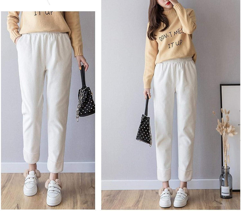 DAJUZI 2020 Hiver Pantalon Chaud Femmes Plus Velours Taille Haute Crayon Pantalon Loisirs Polaire Sport Pantalons de survêtement Femmes Solide Pantalon coréen Blanc Velours