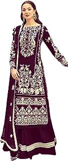 فستان نسائي أرجواني للحفلات من القطن الخالص طويل مستقيم سلوار للنساء مسلم هيج باكستاني فستان 6093