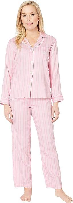 Petite Pointed Notch Collar Pajama Set