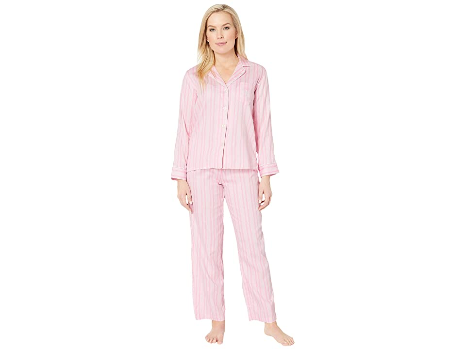 LAUREN Ralph Lauren Petite Pointed Notch Collar Pajama Set (Pink Stripe) Women